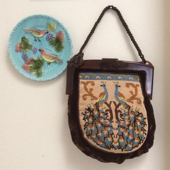 Vintage Handbags - Peacock Needlepoint Velvet Lucite Handbag Vintage